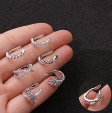 1Pc Crystal Zircon Star Ear Cuffs for Women Tragus Cartilage Wrap Cuff Clip on Earrings No Pierce Earrings Fake Piercing Jewelry