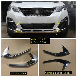 Lapetus Front Head Fog Lights Foglight Lamps Eyelid Eyebrow Strip Cover Trim Fit For Peugeot 3008 3008GT 2017 2018 2019 2020 ABS