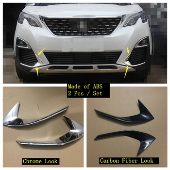 Lapetus Front Head Fog Lights Foglight Lamps Eyelid Eyebrow Strip Cover Trim Fit For Peugeot 3008 3008GT 2017 2018 2019 2020 ABS lapetus accessories for tesla model x 2016 2017 2018 front hood bonnet strip head engine trim decorative strip molding cover kit