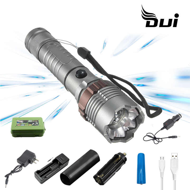 DUI Super Bright T6 Powerful Zoom Rechargeable Flashlight Working Battle 10 Led Torch Lamp Flash Light