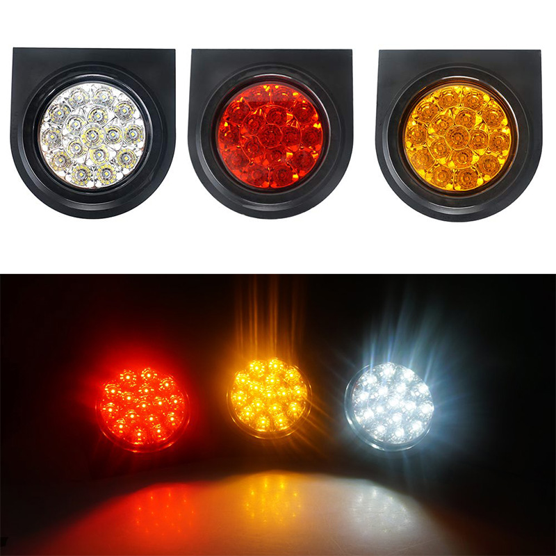 "1X 4/"" Round Red//Amber 16-LED Truck Trailer Brake Stop Turn Signal Tail Lights WD"
