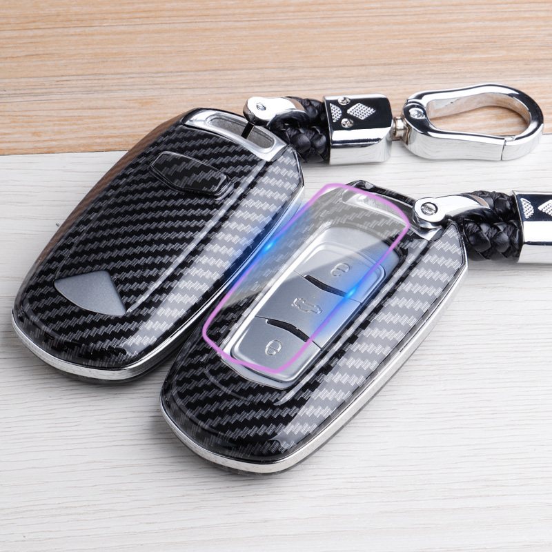 Carbon fiber ABS key case for <font><b>Geely</b></font> <font><b>Atlas</b></font> <font><b>Boyue</b></font> NL3 EX7 Emgrand X7 EmgrarandX7 SUV GT GC9 borui Keychain Bag Auto Accessories image
