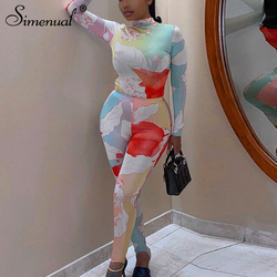 Simenual Floral Printed Skinny Sporty Women Two Piece Sets Autumn Fashion Long Sleeve Bodycon Top And Leggings Co-ord Set Casual