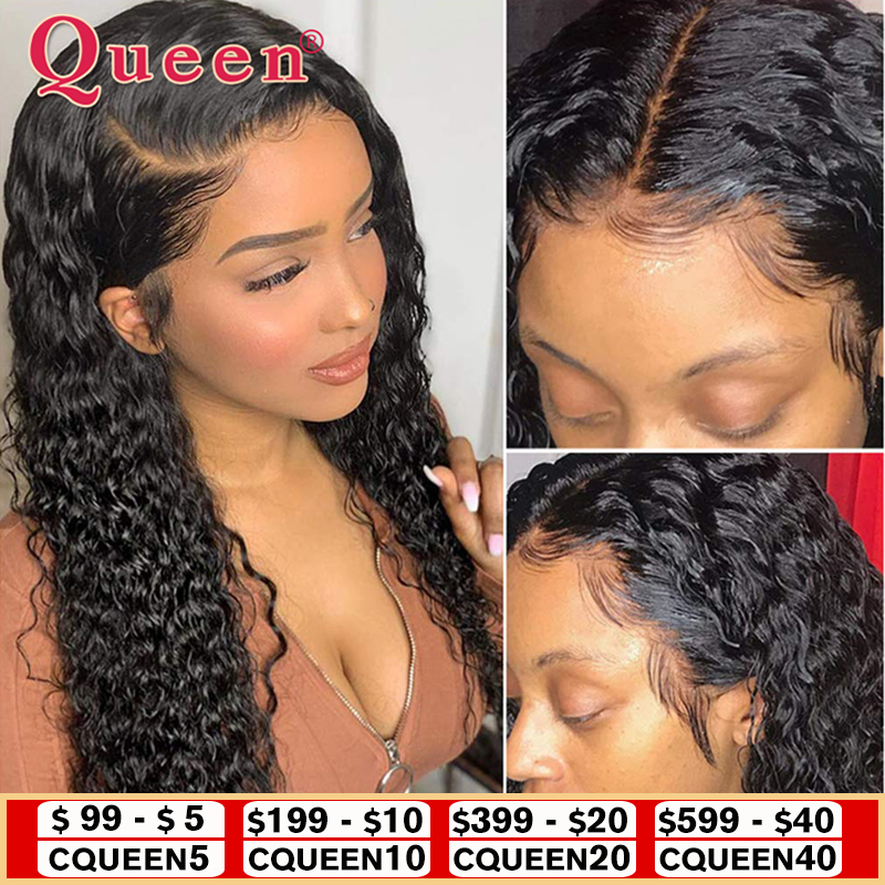 QUEEN Hair Products Deep Wave Lace Closure Human Hair Wigs Brazilian Remy Human Hair Wigs For Women 150% Density Human Hair Wigs