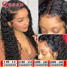 QUEEN Hair Products Deep Wave Lace Closure Human Hair Wigs B