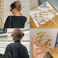 Morsetti per fermagli per capelli geometrici in metallo per ragazze da donna granchio per capelli forma diversa fermaglio per capelli forcina accessori per capelli di grandi dimensioni regali