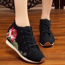 Zapatos para mujer con bordado antiguo de tela de algodón, zapatos informales Vintage étnicos, zapatos de mujer con plataforma de cuña, zapatos de tacón oculto para mujer