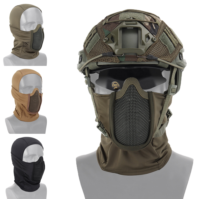 Hunting Protective Headgear Military Tactical Balaclava Cap Combat Half Face Steel Mesh Airsoft Paintball Masks