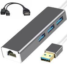 3 usb хаб lan ethernet адаптер + otg кабель для fire stick 2