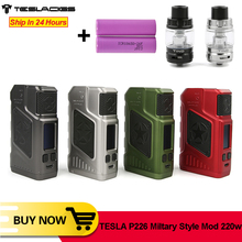 Original TESLA P226 vape 220w TC boîte MOD avec 0.96 pouces OLED écran double 18650 batterie pour P226 Vape E Cigarette VS Tesla 4X Mod