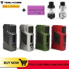 Original tesla p226 vape 220w tc caixa mod com 0.96 polegada tela oled dupla 18650 bateria para p226 vape e cigarro vs tesla 4x mod