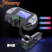 Trasmettitore FM Phaany Radio DAB digitale Kit per auto Bluetooth vivavoce AUX Music ricevitore Audio lettore MP3 per auto QC3.0 caricatore USB 3