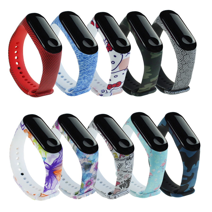 Camouflage Bracelet For Xiaomi Mi Band 4 Strap Silicone Printing Flowers Strap Miband 3 Accessories For Xiaomi Miband 4 Band