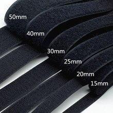 1 par 15mm-50mm preto branco prendedor fita velcros gancho e laço fita cabo laços acessórios de costura, 1 jarda/lote