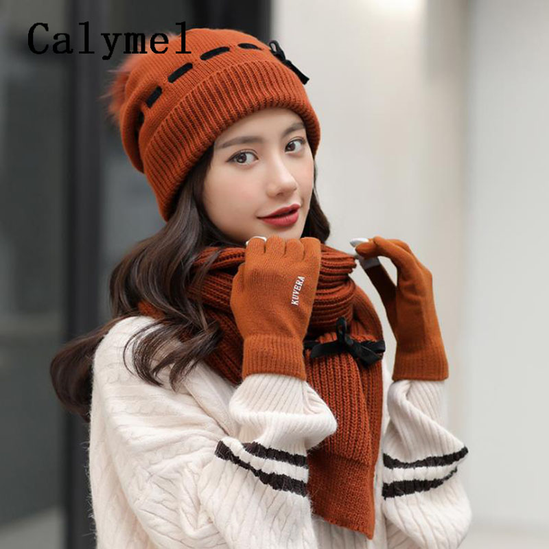Calymel 2019 New Winter Wool Hat Scarf Gloves Set Ladies Knitted Wool Hat Knitted Scarf Plus Velvet Thick Outdoor Warm
