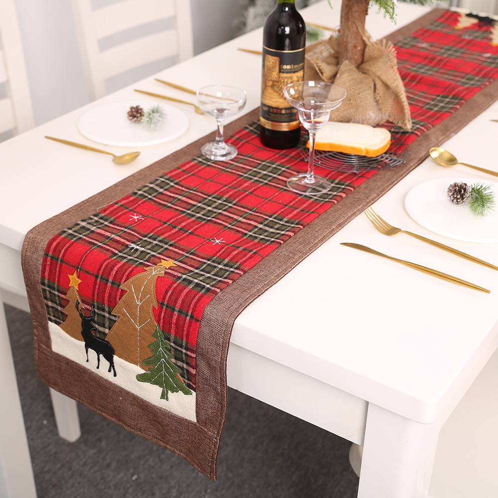180*35CM Christmas Table Runner Plaid Cloth Elk Small Tree Table Mat Insulation Mat New Year Festive Decorations Christmas Gifts