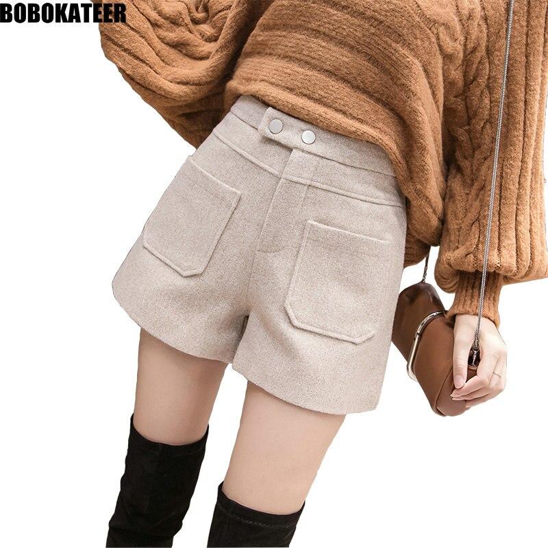 BOBOKATEER Fashion Autumn Winter Shorts Women Casual Tweed Short Pants Ladies Black Shorts Mujer Pockets Short Hiver Femme 2019