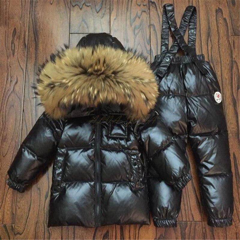Детский зимний пуховый комплект одежды, детские лыжные куртки и штаны, Комбинезоны для маленьких мальчиков и девочек, верхняя одежда, пальт