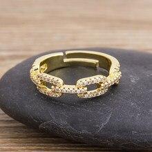 Moda geométrica anéis de ouro cristal cz pedra cobre ajustável aberto charme anéis para feminino meninas jóias de casamento acessórios