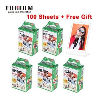 Image 1 - Original fujifilm instax mini filme 10 200 folhas branco papel de foto instantânea para fuji instax mini 9 8 25 90 7s filme + dom gratuito