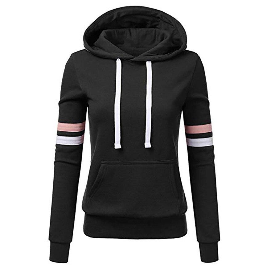 Hoodie Sweatshirts Ladies women's Hoodies Women Stripe Long Sleeve Blouse Hooded Pocket Pullover Tops Shirt Sweatshirt Woman