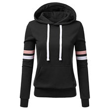 Hoodie Sweatshirts Ladies women's Hoodies Women Stripe Long Sleeve Blouse Hooded Pocket Pullover Tops Shirt Sweatshirt Woman(China)