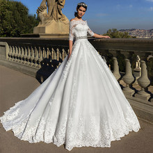 Half Sleeves Ball Gown Wedding Dresses With Beading Sashes Lace Appliques Bridal Gowns Robe De Mariee 2020 Boat Neck Bride Dress(China)