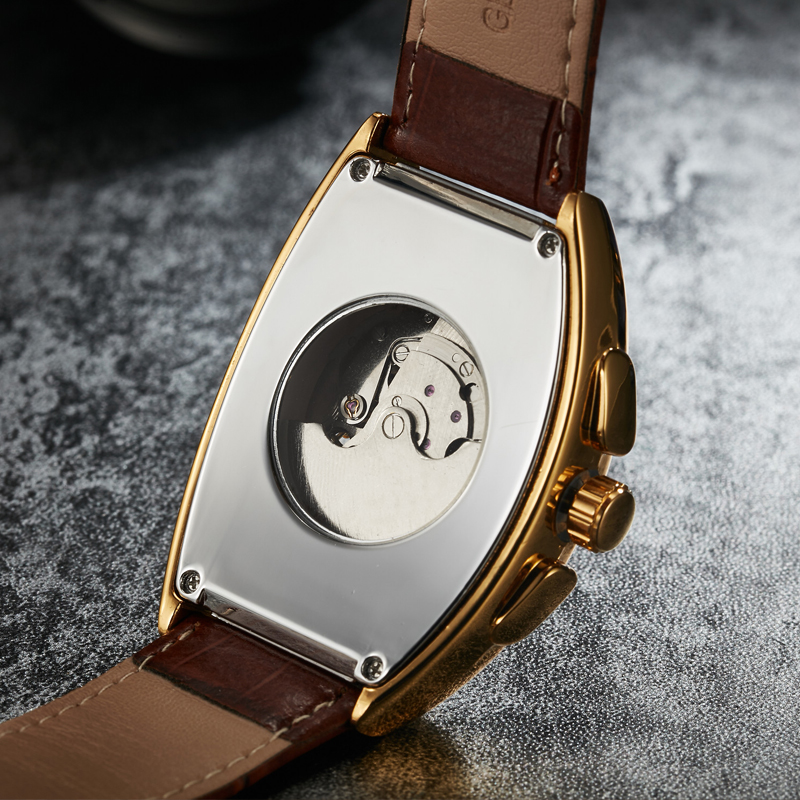 Luxury Automatic Mechanical Watches Men Moon Phase Skeleton Retro Self Winding Wristwatch Male Gold Case Clock Leather Watches
