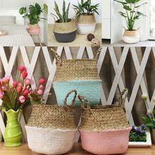 Neue Bambus Lagerung Körbe Faltbare Wäsche Stroh Patchwork Wicker Rattan Seegras Bauch Garten Blumentopf Pflanzer Korb 1pc