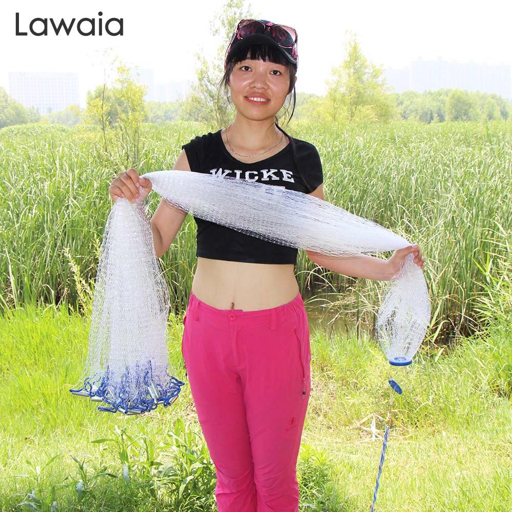 Lawaia Hand Throw Fish Net Diameter 2.4-7.2m Fishing Net American Hand Casting Nets Fishing Cast Network Small Mesh Iron Pendant