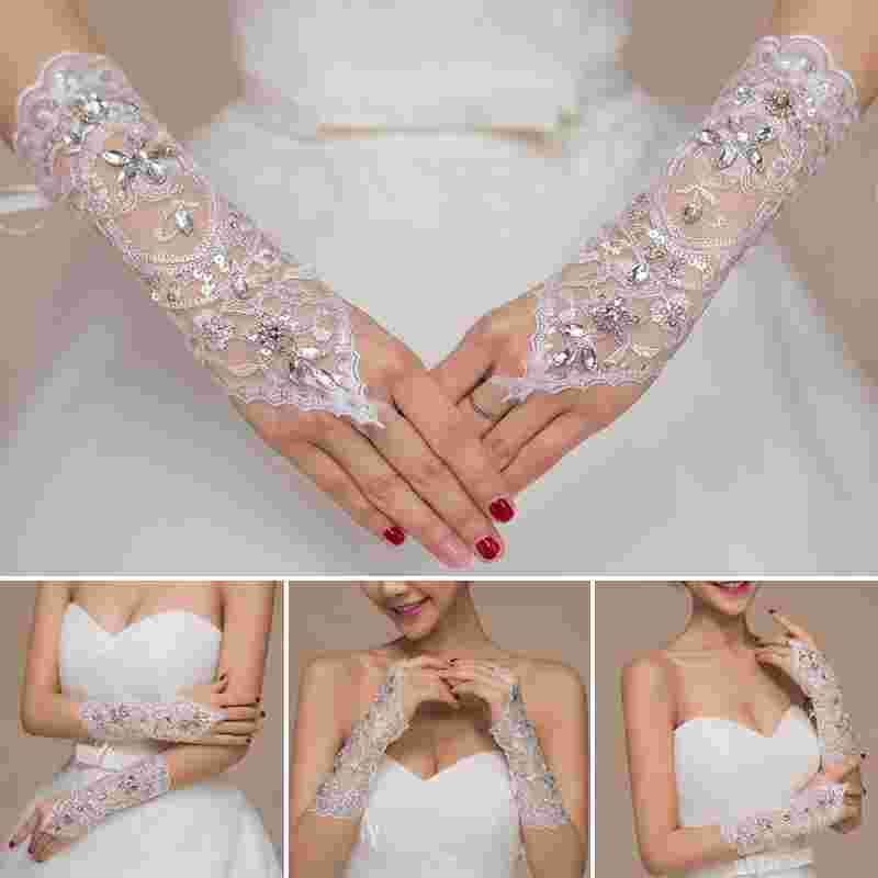 1Pair Of Full Rhinestones Wedding Gloves Sexy Lace Wrist Fingerless Wedding Evening Party Bridal Short Gloves Dress