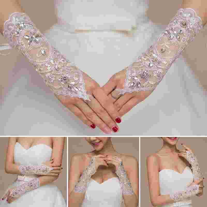 1Pair Of Full Rhinestones Wedding Gloves Sexy Lace Wrist Fingerless Wedding Evening Party Bridal Short Gloves Dress