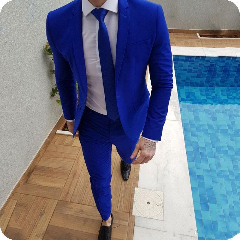 11 2020 New Arrival Royal Blue Prom Suits Groom Tuxedos Latest Coat Pants Designs Mens Wedding Suits Male Slim Fit Jacket+Pants
