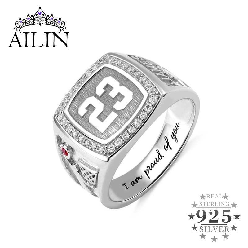 AILIN Numerals Jewelry 925 Silver Ring for Man Basketball birthstone Signet ring With Engraving