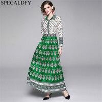 New Fashion 2019 Designer Runway Maxi Dress Women's Long Sleeve Printed Party Long Dresses Autumn Vintage Bohemian Dress