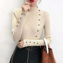 Fall and Winter 2019 New Womens Button High-collar Pullovers Long-sleeved Knitted Top