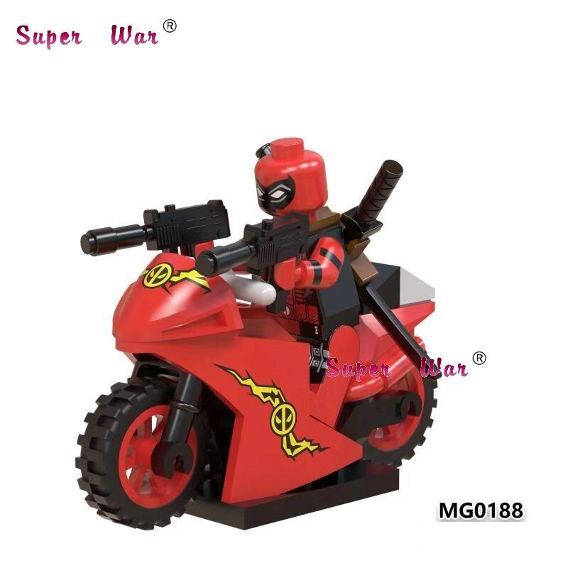 Single Marvel Movie Super Heroes Marvel Deadpool With Dog Motorcycle Collection Motorbike X Men Building Blocks Kids Toys