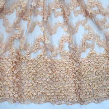 high quality orange wedding beaded lace fabric pearl lace embroidered fabric HY0793-4