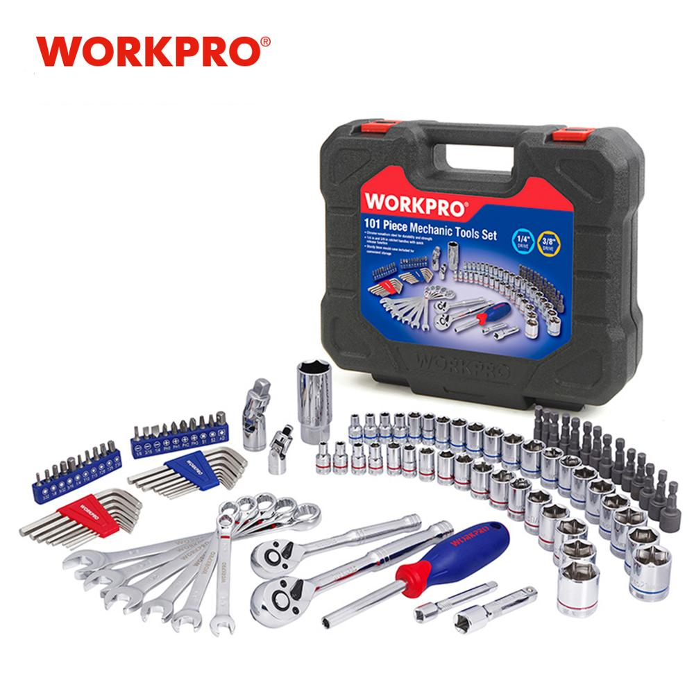 WORKPRO Car Repair Tools Mechanic Tool Set Sockets Set Tools for Auto Screwdrivers Metric SAE Wrench Ratchet Spanners hand tools|repair tool|socket sets tools|set tools - title=