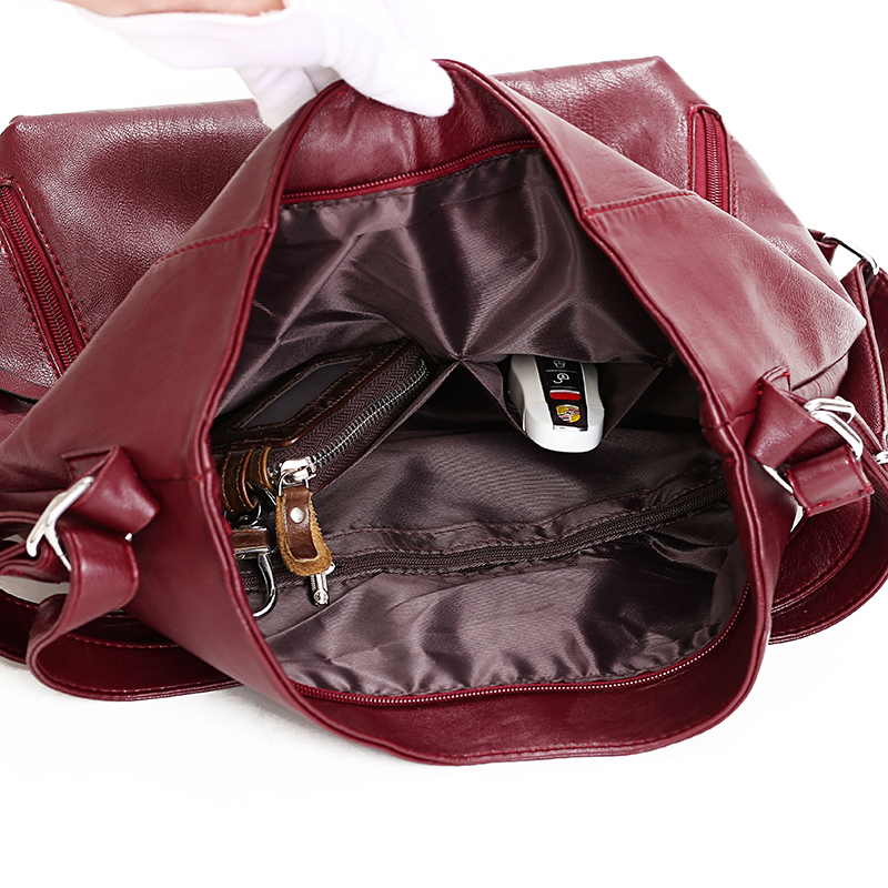 Image 5 - Women Leather Handbags High Quality 3IN1 Female Soft Leather Shoulder Bag Large Capacity Tote Bags Female Sac Ladies Hand BagTop-Handle Bags   -