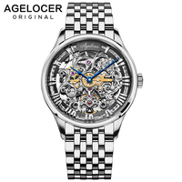 Transparent Case 2019 Swiss Fashion AGELOCER Logo Stainless Steel Men Mechanical Watch Top Brand Luxury Skeleton