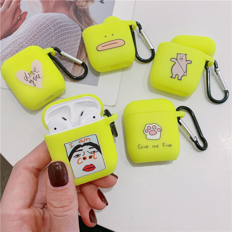 Funny Nostrils Pattern Case For Apple Airpods 2/1 Case Cute Fluorescent Color Earphone Cover For Airpod Silicone Headphone Case
