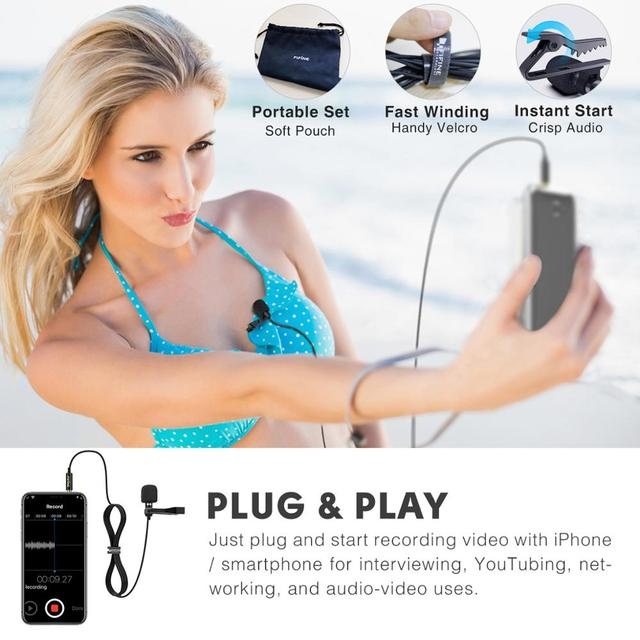 Microfone de Lapela Fifine  para Câmera DSLR e Smartphones - Ideal para Entrevistas e Gravações de Videos.  3