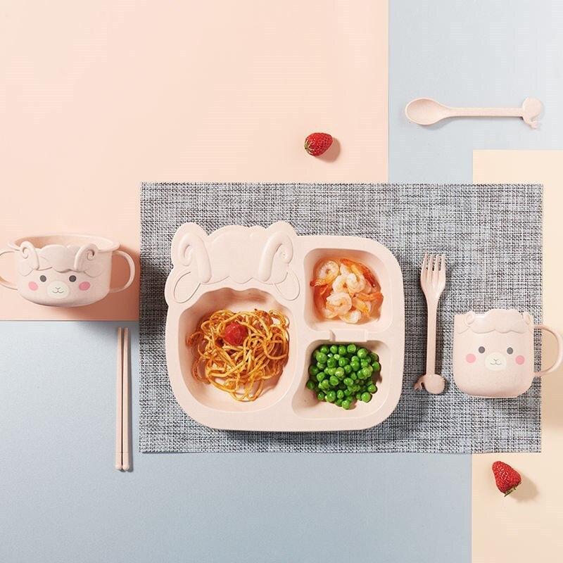 6 шт./компл. детская посуда с мультяшным динозавром, детский набор посуды, домашняя антигорячая тренировочная тарелка из пшеничной соломы, детские блюда для кормления 6