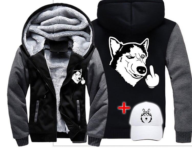 Mode drôle chien husky moyen doigt mignon hommes femmes chaud épais manteau veste hiver chaud rue velours sweat à capuche haut