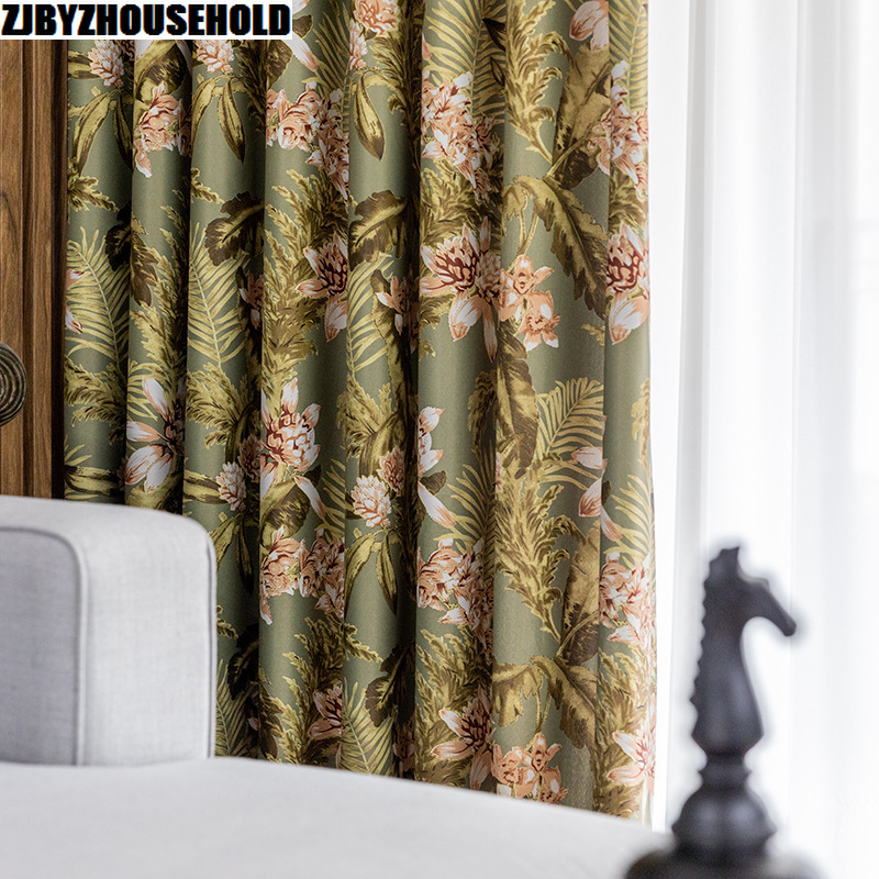 American Pastoral Flowers Curtains For Living Room Modern Light Printing Curtains For Dining Room High Shading Windows
