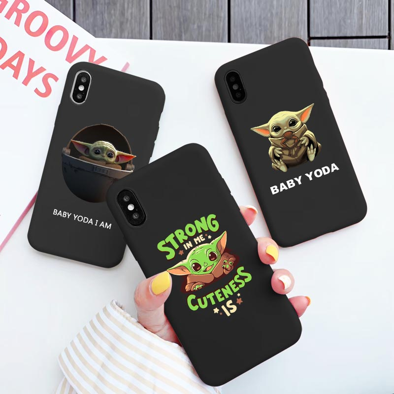 Baby yoda meme Soft Matte Case for iPhone X 11 Pro Max XS MAX XR Phone cover for iPhone 7 Plus 8 Plus 6s Plus Coque Shell Fundas image