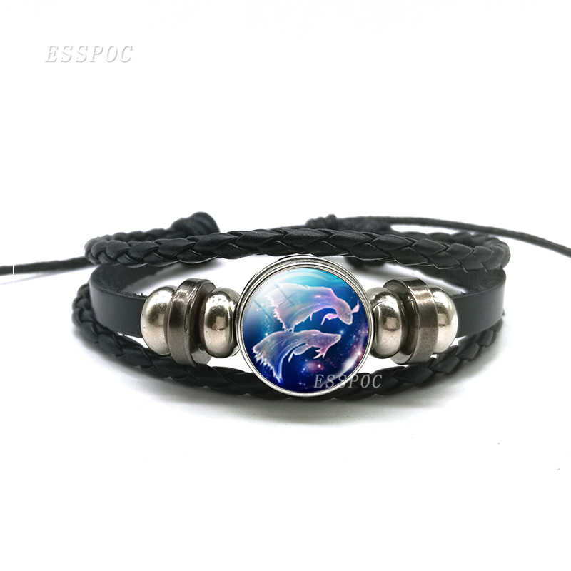 12 signos del zodiaco constelaciones botón negro tejido cuero domo de vidrio para pulsera joyería hombres Aries Libra Leo regalo de cumpleaños