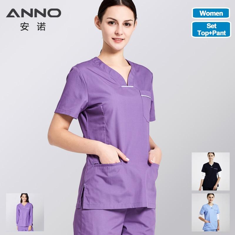 ANNO Medical Body Medical Clothing Women Hospital Nurse Uniform Surgical Nursing Scrubs Set Include Tops Pants Dentist Clothes