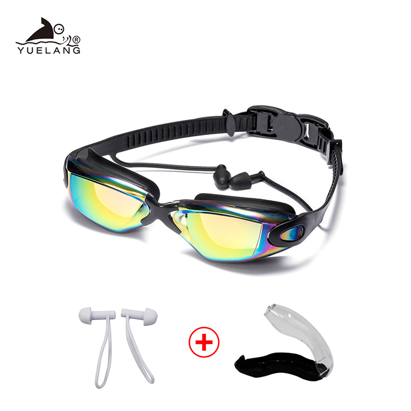 Swimming Goggles Women Men Swim Goggles Waterproof Suit HD Anti-Fog UV Adjustable Prescription Glasses For Pools With Earplugs